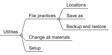 Utilities File Management Material Editing And Setup