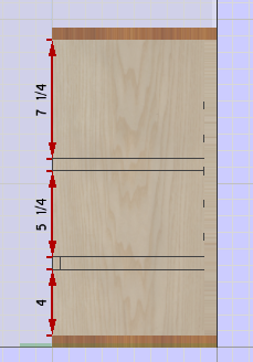 Dimension lines on dado board