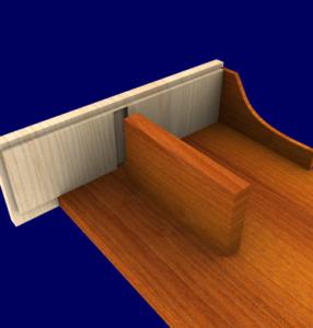 3D image of woodworking details in furniture design software.