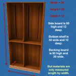 Bookcase showing dimensions.