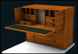 Image of Pull out desk model from cabinet design software