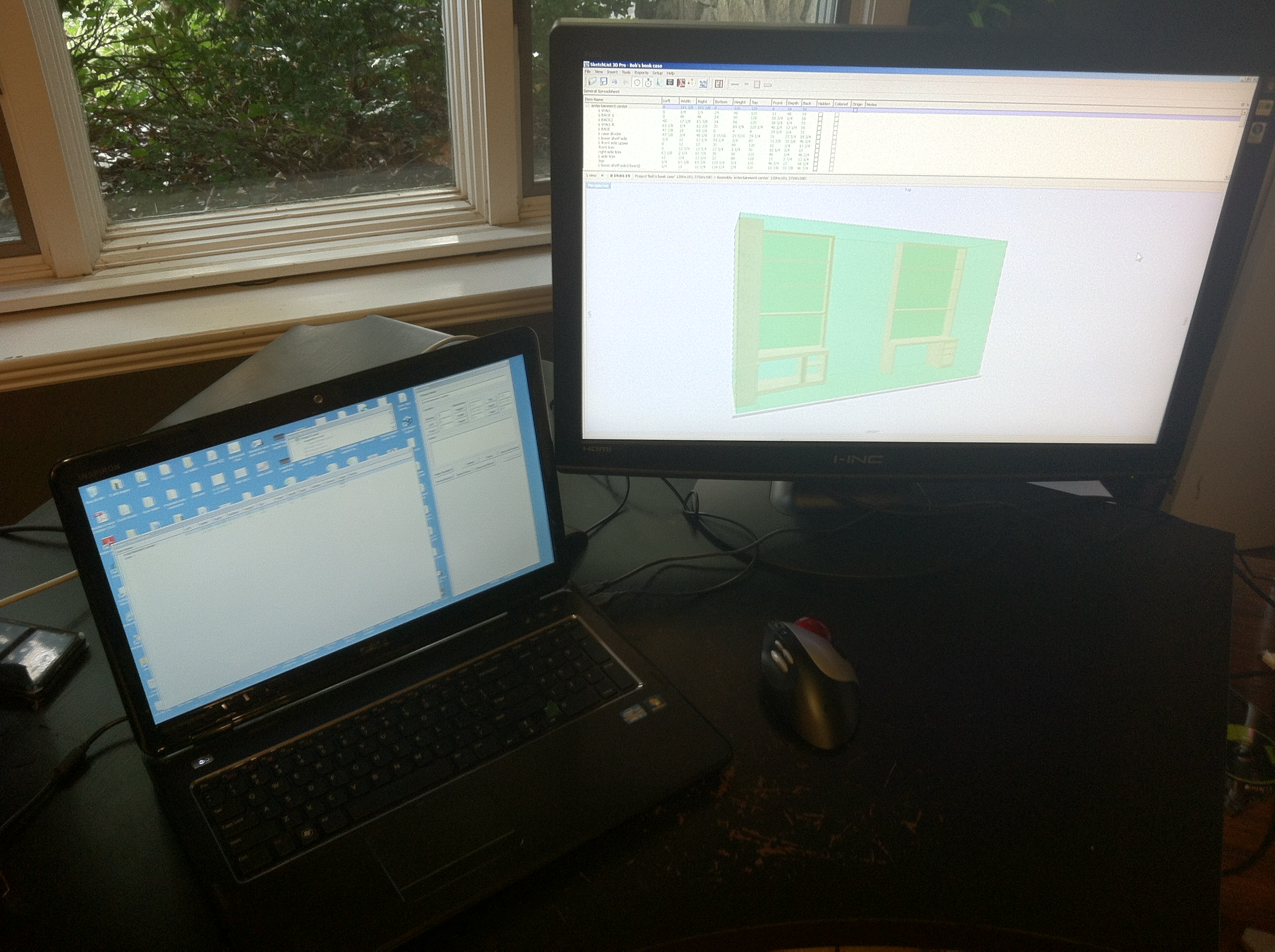 Computer Desk showing cabinet design software
