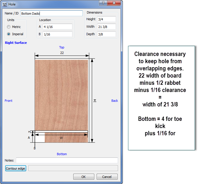 Dado on board surface with cabinet design software | SketchList3D