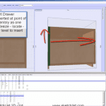 Making a cabinet with door and drawers in furniture design software.