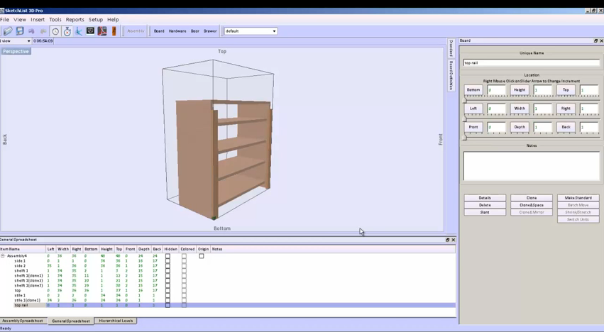 Adding a face frame to a book case in cabinet design software.