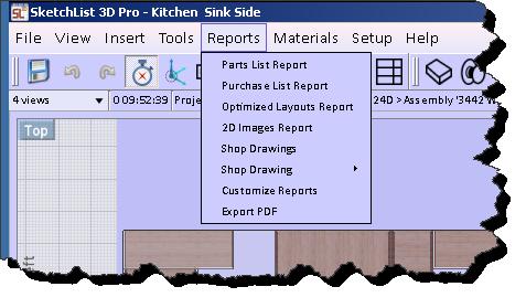 reports main menu
