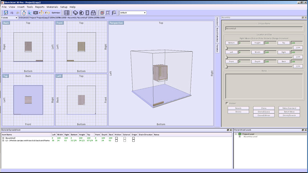 Lesson: Configuring the user interface in SketchList 3D. Summary:   The user interface in SketchList 3-D refers to the various windows and forms as they are laid out on your computer screen. The different functioning of the form – for example the new board form – is covered in detail in the lesson on creating new boards.  This lesson is an overview of how to configure your screen layout for optimal use.     Lesson: User interface Learning Objectives 	1.	Learn the different segments of the main screen. 	2.	Learn how to reposition, resize, and locate screen elements. 	3.	Learn how you might benefit by having more than one monitor attached to your computer. 	4.	Understand how to save your screen arrangement for subsequent use. 	5.	Review of menu and icons. 	 Learning Resources	•	Post  	•	Videos 	•	SketchList 3D Activities	Start SketchList an important project. 	Move screen segments around on screen. 	Save screen arrangement.  The default main screen SketchList 3-D is as follows.    The main menu bar across the top and the icon ribbon below it are two of the elements that are fixed in place on the SketchList 3-D main screen.   The image area to the right of the screen displays from one to seven different views of the design on which you are working.  The more screens you show at one time the smaller they are appear.   The spreadsheet, form with the object or container form, and the hierarchical levels form can be moved to make more room for the image area.  Any or all of these three closed as well. To reopen go to the view menu item in the main menu form and select the element you want to reopen. The sheet, object or container, or hierarchical level form can also be moved.  You may want to move one of these forms to a central position on your monitor for better viewing.  Below is an example of what the screen look like when the assembly of form was centered.   Depending on the stage of the design you may find you use one type of form more than the other.  For example it seems when the design is further along the spreadsheet may become a better tool because it shows specific information about a specific element of the design in context with other information.   To move one of these forms, simply click near the top with your mouse/cursor and slide the form where you want it to go.  To put it back simply move it near the area where it was originally. With some experimentation you'll see the different configurations of the screen that you can create.       When you find a layout that works particularly well for you, or multiple layouts that work well in different situations, you can save those layouts for use at another time. To do this go to the main menu set up option and click it.   And pick the layout option and click on create.  A form will open for you to enter the name of this new layout.   Enter the name click OK.   On the main menu form to the right of the icon ribbon you'll see a pulldown menu box. You pull that menu down you will see layouts that you have created and saved.  Pick the layout you want to use for that session. Many users of SketchList 3D find that by maximizing the amount of screen available for the various forms and viewing areas increases productivity.  One way to do this is to add one or more monitors to your computer.   Most more-current laptops have an outlet on the back with which you can connect an exterior monitor. There are other connecting devices you can purchase for connection through your USB port which may allow you to support more than two monitors or displays. If you add an additional monitor you have the screen real estate to have a one monitor devoted to the image areas, and the other monitor to be devoted to an enlarged spreadsheet and the object/container form.  Viewing area either a. let you see more of your design at once or b. let you zoom in to a very close detail.        Explore the menu items by starting 3D on your computer and clicking on them one at a time. Most if not all entries on these menus is fairly straightforward. If  a not a more detail description is available in this series of SketchList 3D lessons. The icons in the icon ribbon are as follows. 1.	Save project 2.	Un-do 3.	Re-do 4.	Stop-start the time. Notice the time spent working on a project is displayed directly under this icon. 5.	Measuring context.  Clicking this symbol toggles SketchList 3D  to present all locational values (for example left right, or top bottom, or front back) to be based upon the distance between the point of origin (left, front, bottom all equal zero) of the individual assembly or for  the project.   6.	The camera icon starts the height quality photo rendering 7.	The change material icon changes selected material in a project or assembly. 8.	The second change material icon changes the textures. 9.	Set explosion distance for exploded parts  view. 10.	Optimizer. 11.	Insert assembly. 12.	Insert board. 13.	Insert hardware. 14.	Insert door. 15.	Insert drawer. 16.	Turn on red dot stretch feature. 17.	Turn on blue corner locator feature. 18.	Display point of origin on containers and objects. On the line below the icon ribbon there is a pulldown menu with which you set the number of image areas viewed at one time. Next to that is a time display showing amount of time spent designing a project. Next to that is information about the project assembly and various containers.