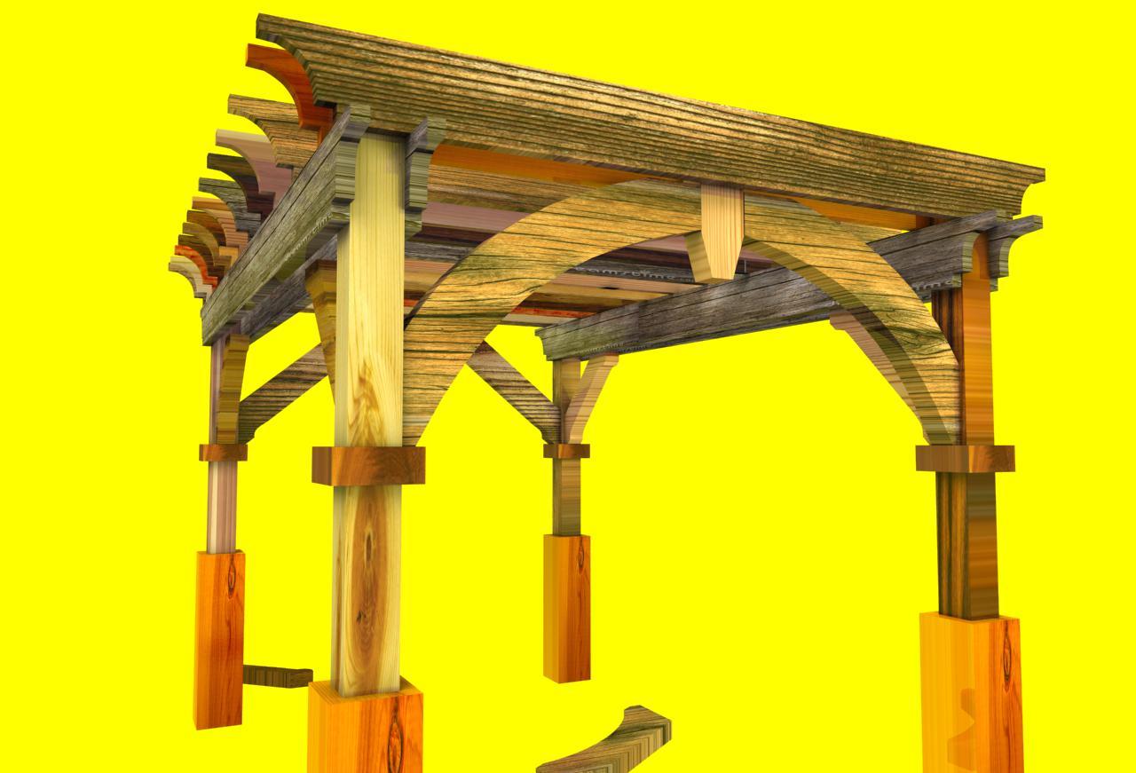 Large Pergola Front - Design Software For Pergolas And Sheds. - Sketchlist 3D