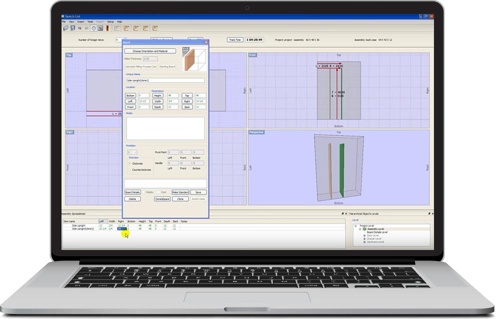 Sketchlist 3d for Woodshop layout software