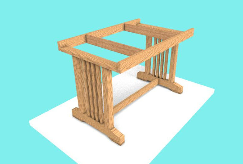 Dining Table Frame woodworking design software - tableCropped