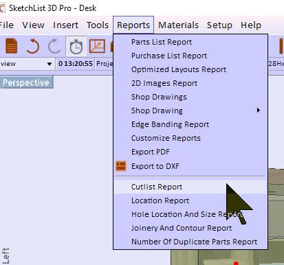 cutlist report menu items