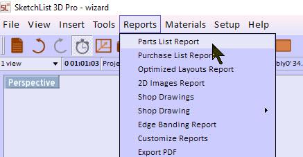 parts list report menu
