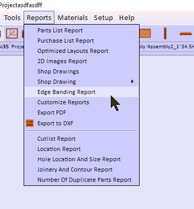 edge banding report menu