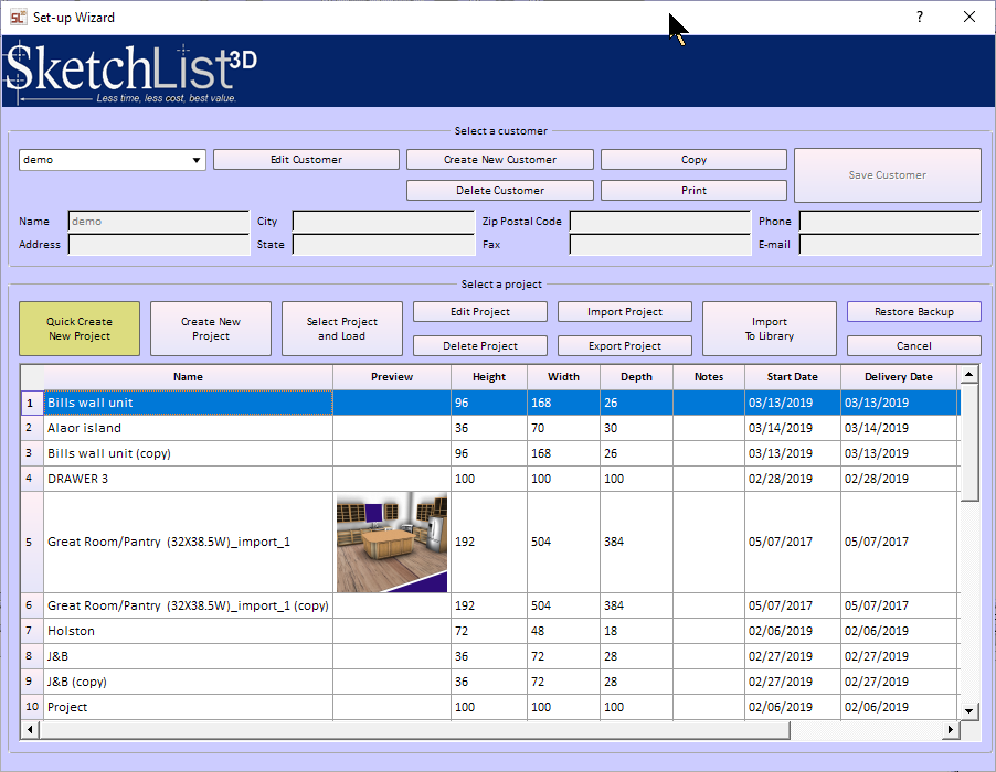 new project screen cabinet design software