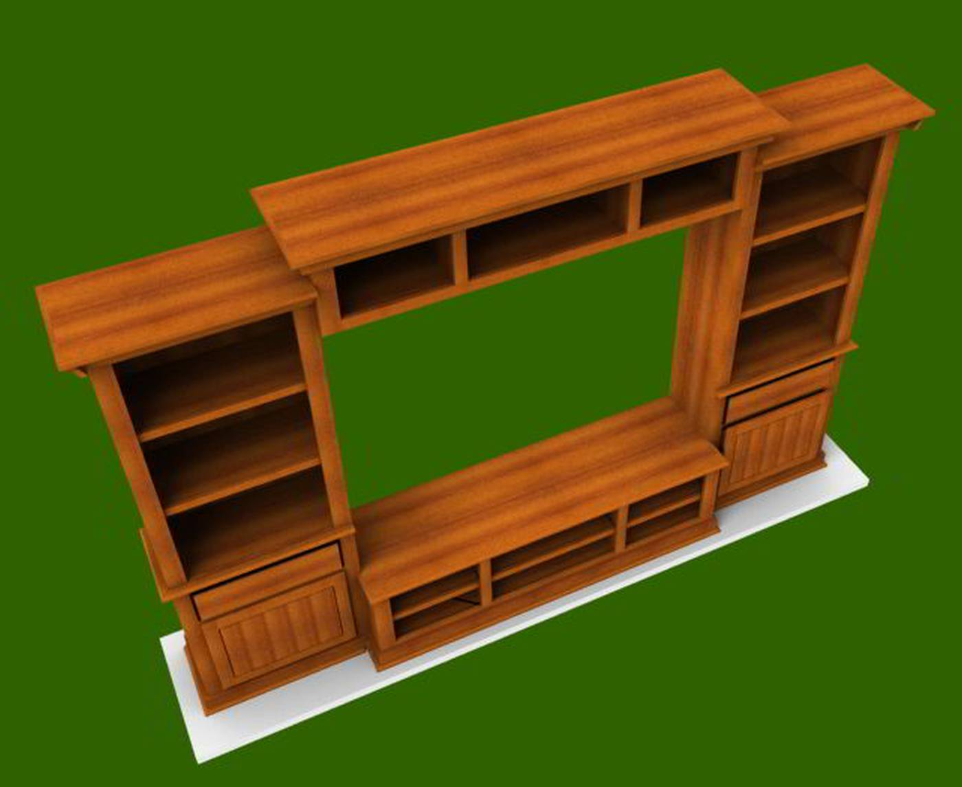 wall unit bookcase in woodworking software