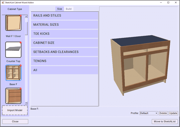 The screen for the automated cabinet design tool Cabinet Wizard